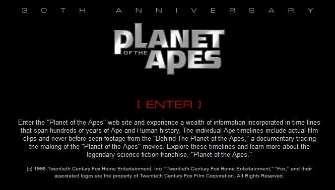 Apes 30th Anniversary site