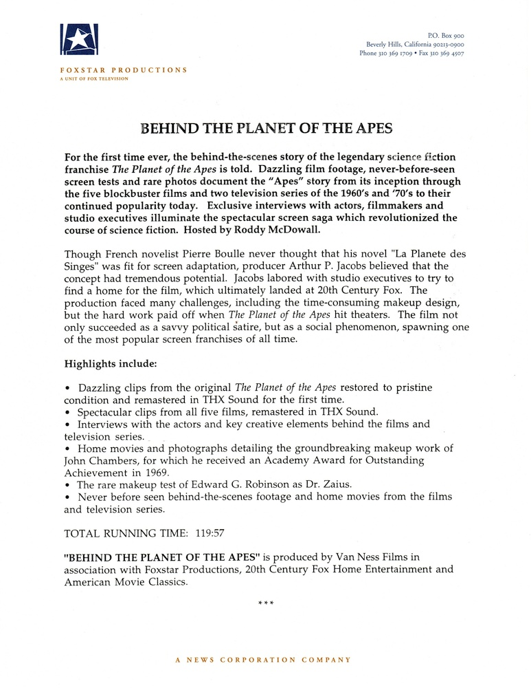 Behind the Planet of the Apes pressbook